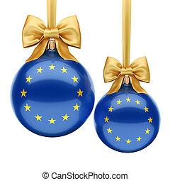 balle, union, rendre, drapeau, 3d, noël, européen