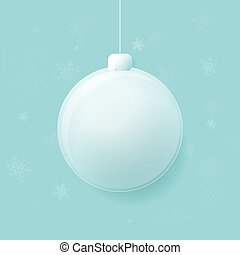 balle, vecteur, joyeux, verre, arrière-plan., flocons neige, noël, illustration, bleu