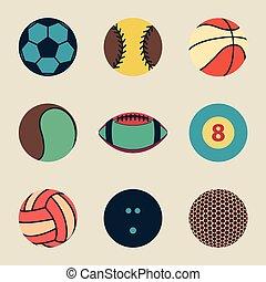 balle, vendange, illustration, vecteur, collection, sport, icône