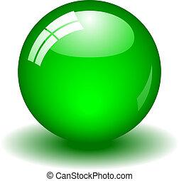 balle, vert, lustré