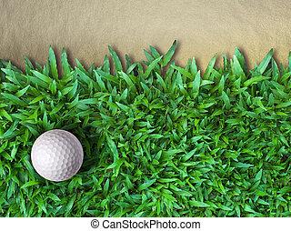 balle verte, golf, herbe
