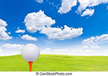 balle verte, tee golf, herbe