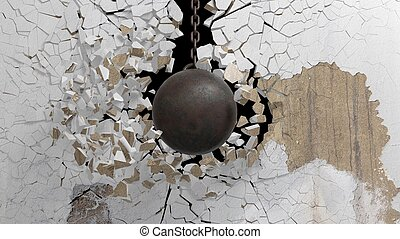 balle, vieux, démolir, chaîne, briser, métallique, rendre,...