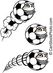 balle, voler, cartooned, football, football, ou