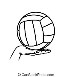 balle, volley-ball, main