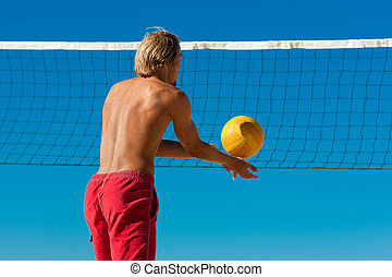 balle, -, volley-ball, servir, plage, homme