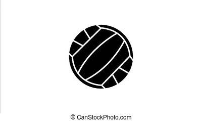 balle, volley-ball, vidéo, 4k, rouler, dessiné, côté