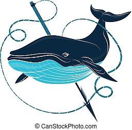 ballena azul, arpón