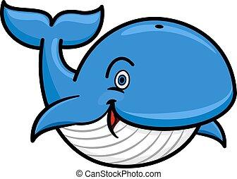 ballena azul, carácter, baleen, caricatura
