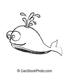ballena, caricatura, figura, icono