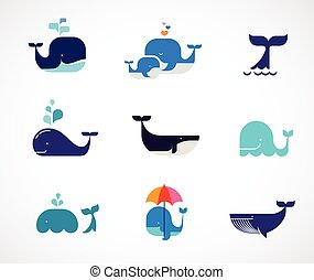 ballena, vector, colección, iconos