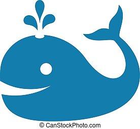 ballena, vector, icono