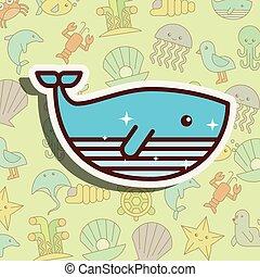 ballena, vida, mar, caricatura