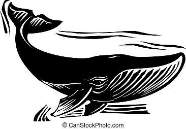 ballena, woodcut, 6