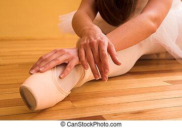 Ballerina #19 - Lady doing ballet in dance studio. Shallow...