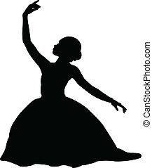 ballerina, 3, vettore, -