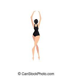 ballerina, ballare ballet, ballerino, giovane, illustrazione, leotard, vettore, sfondo nero, professionale, bianco