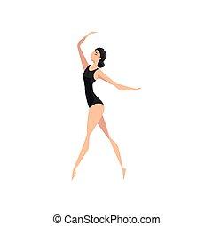 ballerina, ballare ballet, ballerino, giovane, illustrazione, vettore, fondo, professionale, bianco