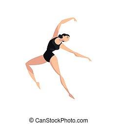 ballerina, ballare ballet, ballerino, magro, illustrazione, leotard, vettore, sfondo nero, professionale, bianco, beautifull