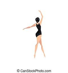 ballerina, ballare ballet, ballo classico, magro, giovane, illustrazione, beautifull, vettore, fondo, bianco, classe