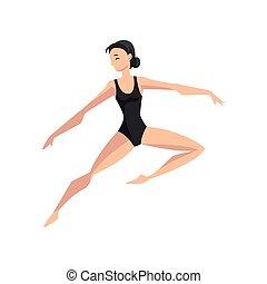 ballerina, ballare ballet, magro, illustrazione, vettore, ballerino, fondo, bianco, beautifull