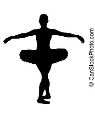 Ballerina - ballerina silhouette isolated on white...