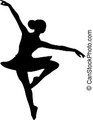 Ballerina ballet dancer girl silhouette vector graphic illustration line art