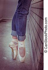 ballerina. ballet pointe shoes.