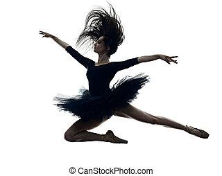 ballerina, ballett, frau, hintergrund, weißes, tänzer, junger, silhouette, tanzen, freigestellt
