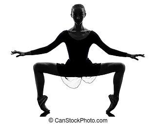 ballerina, ballett, frau, silhouette, dehnen, auf, junger, tänzer, studio, hintergrund, weißes, eins, kaukasier, wärmen