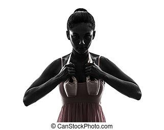 ballerina, ballett, frau, silhouette, schuhe, tänzer, besitz