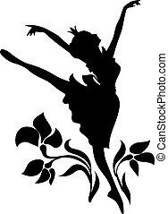 ballerina, ballett, frau, silhouette, tanzen, gekritzel, ornament., aschenbrödel, grafik, blumen-, icon., prinzessin