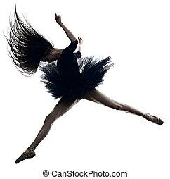 ballerina, ballett, frau, silhouette, tanzen, junger, freigestellt, tänzer, hintergrund, weißes