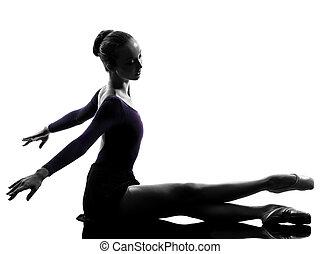 ballerina, balletto, allungamento donna, su, giovane,...