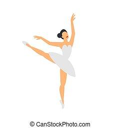 ballerina, balletto, appartamento, ballo, stile, fondo., dancer., bianco
