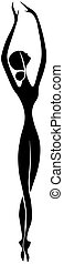 ballerina, balletto, ballo, isolato, fondo., silhouette, bianco, icon., icona