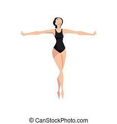 ballerina, balletto, classico, ballerino, magro, illustrazione, leotard, vettore, sfondo nero, professionale, bianco, beautifull
