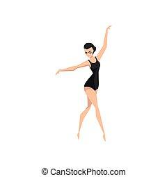 ballerina, balletto, classico, ballo, ballo, giovane, illustrazione, vettore, ballerino, fondo, professionale, bianco