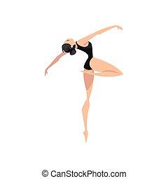 ballerina, balletto, classico, ballo, ballo, illustrazione, vettore, ballerino, fondo, bianco, beautifull