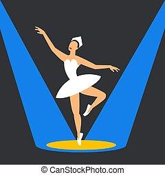 ballerina, balletto, stage., ballo, immagine, highlights., stile, appartamento, scuro, fondo., ballerino