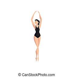 ballerina, balletto, vettore, ballo, illustrazione, ballerino, fondo, professionale, bianco, beautifull