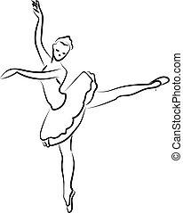 ballerina, bianco, fondo., silhouette, vettore, illustrazione