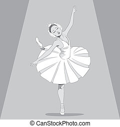 Ballerina Black & White - Black & White drawing illustration...