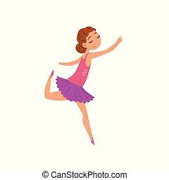 Ballerina Ballo Vestito Viola Carattere Illustrazione Vettore