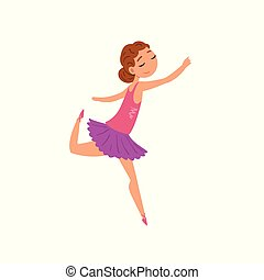 Ballerina character in purple tutu dress cartoon vector Illustration on a white background