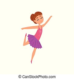 Ballerina character in purple tutu dress dancing cartoon vector Illustration on a white background