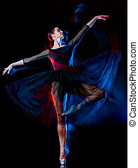 ballerina classical ballet dancer dancing woman isolated black b