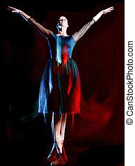 ballerina classical ballet dancer dancing woman isolated black bacground