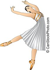 ballerina in white dress standing in a graceful pose