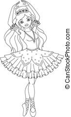 Ballerina coloring page - Beautiful princess ballerina...
